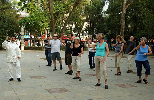 Morning Tai Chi learning in Yangshuo,Guilin