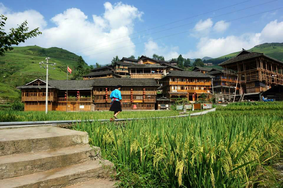 Distinctive wooden houses of Yao people in Dazhai village