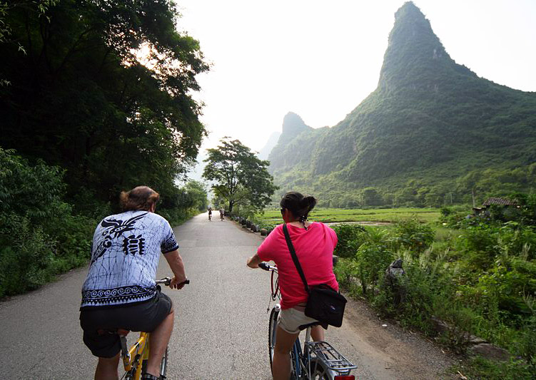 Yangshuo bicycle tour,rural Guilin China