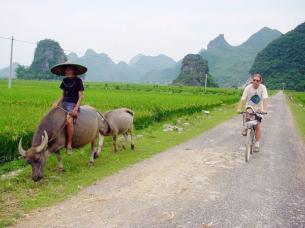 Yangshuo countryside is ideal for biking with peaceful villages