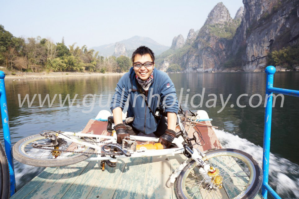 Biking around the Li River, Cruise boat from Xingping to Yangdi,