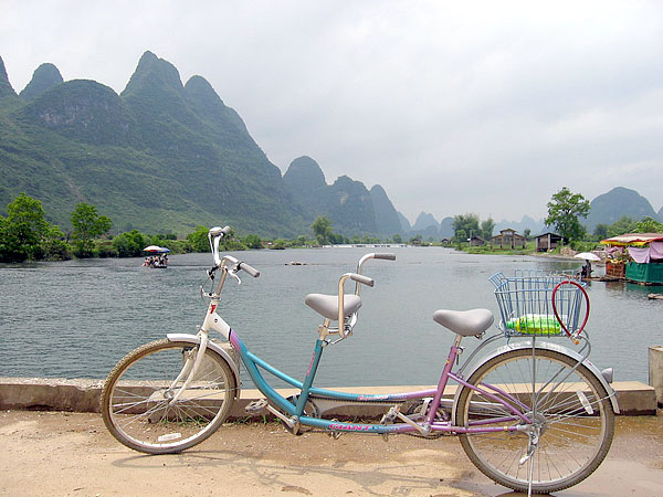 Bike riding into the countryside of Yangshuo,Guilin