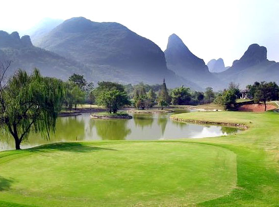 Enjoy playing golf in Guilin with awesome mountain views