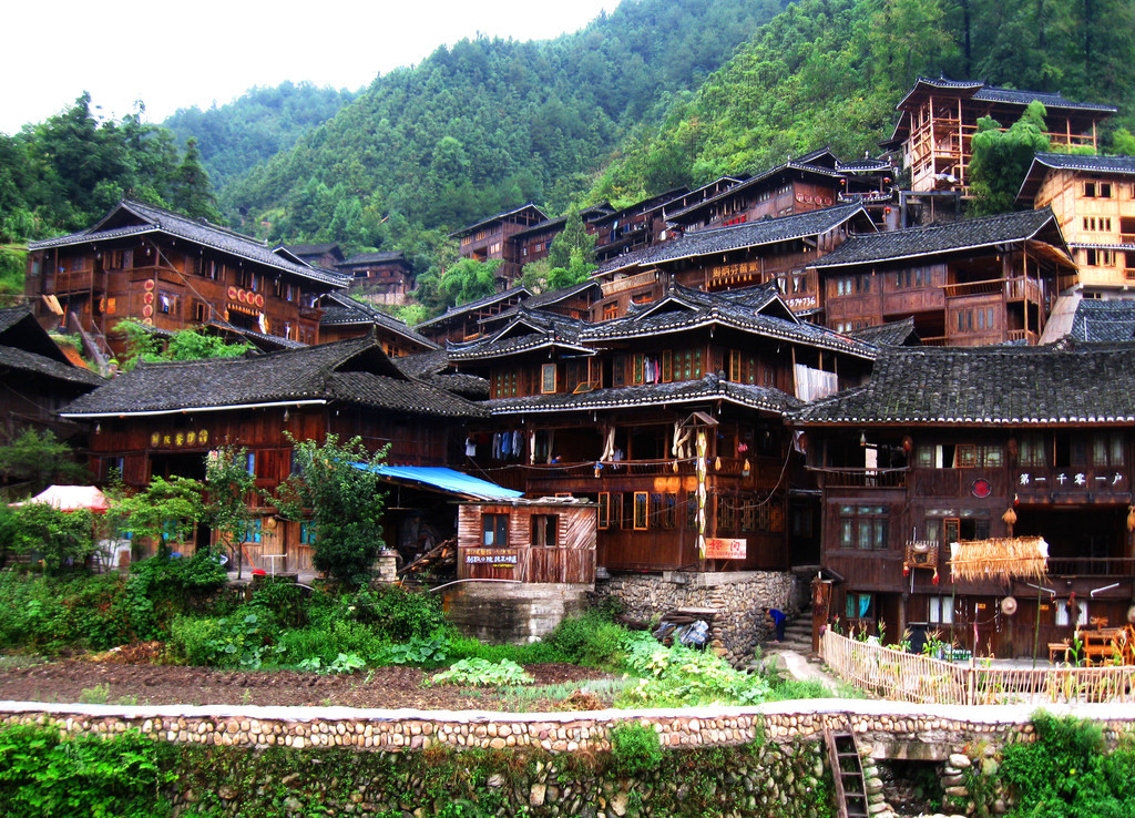 Traditional wooden house structures of Miao minority