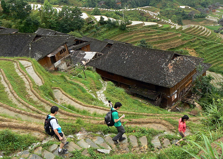 Hiking through Longji Rice Terraces area,Guilin
