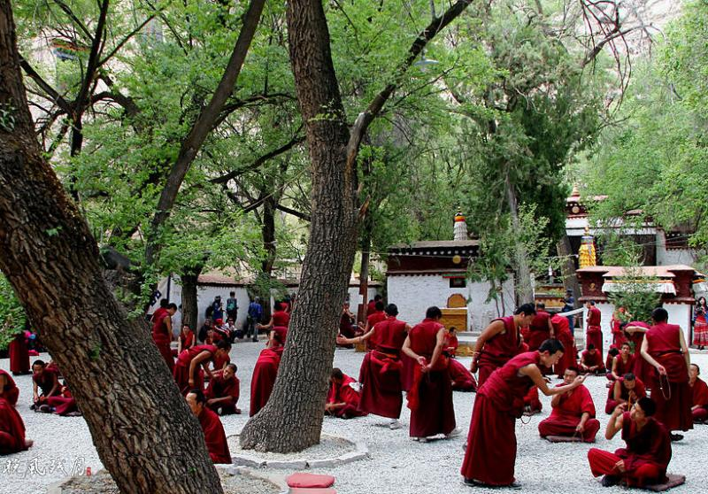 Monks debate at Sera Monastery,Tibet