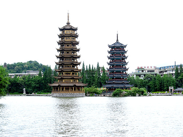 The serene central lakes at downtown Guilin