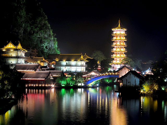 Guilin's night view of the central lakes at downtown