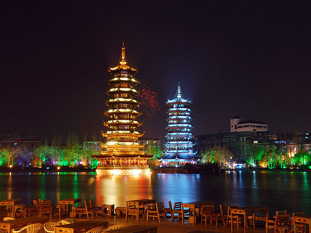 Stunning night view of Guiilin round-city water system with Sun and Moon Pagodas