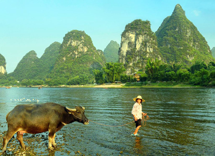 Take a cruise trip on the famous Li River for the peaceful rural scene