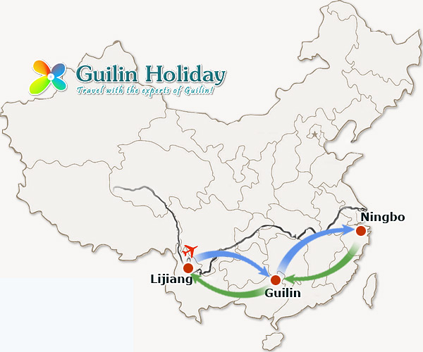 Direct flight route Lijiang-Guilin-Ningbo