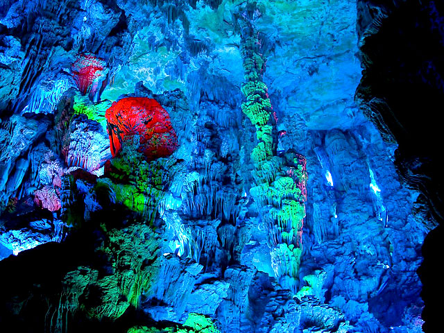Reed Flute Cave illuminated by colored iighting