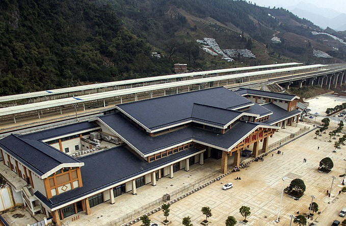 Yangshuo Railway Station along Guiyang-Guangzhou High-speed Railway
