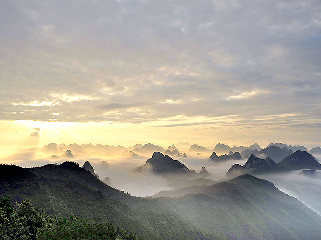 Sunset View of Yao Mountain, Guilin China