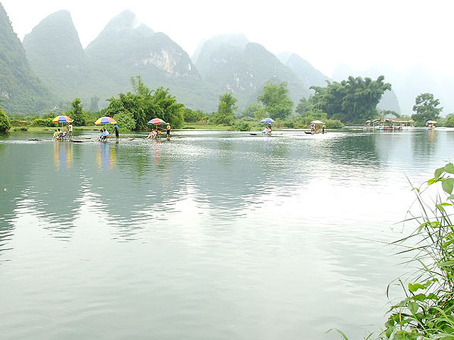 Bamboo rafting on Yulong River,Yangshuo China